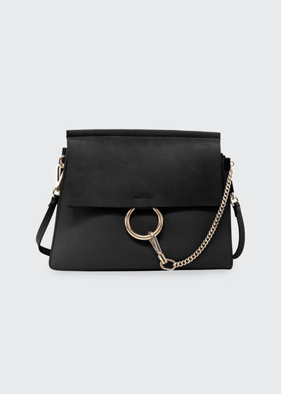 Faye Suede-Flap Shoulder Bag