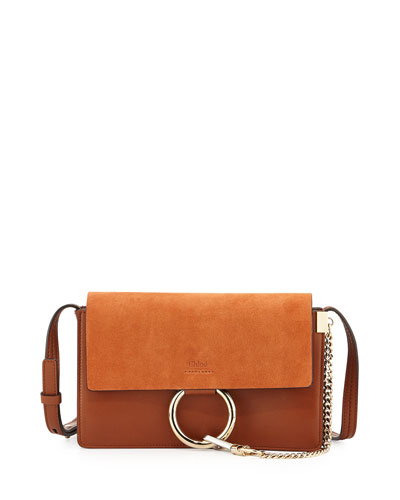 Faye Small Suede Shoulder Bag, Brown