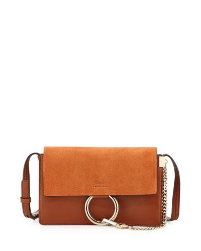 Faye Small Suede Shoulder Bag, Brown