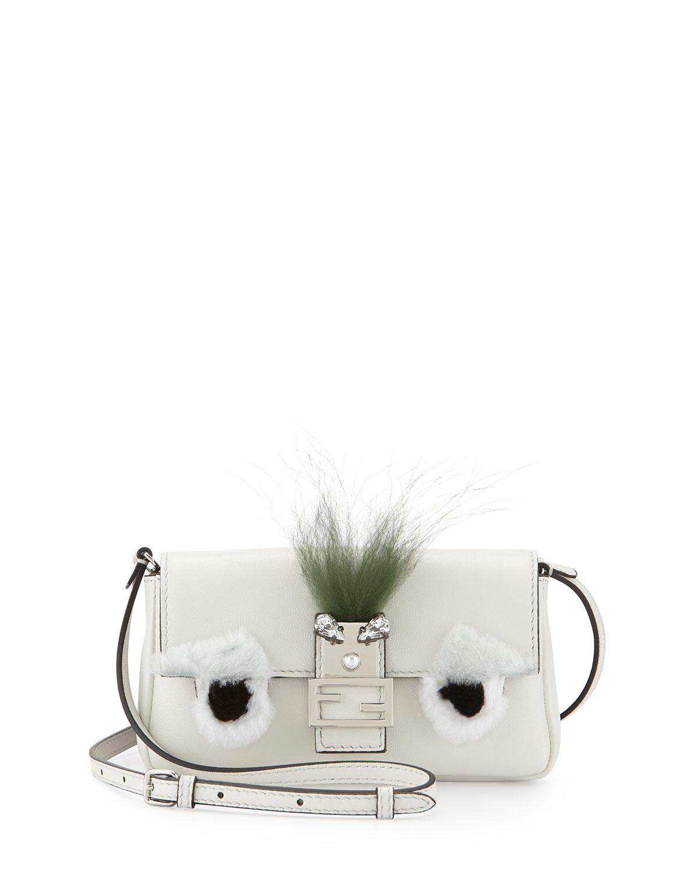 Micro Monster Shoulder Bag, White/Black