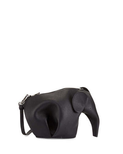 Leather Elephant Mini Bag, Black