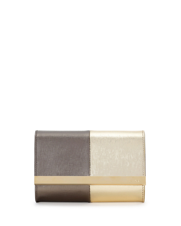 Rush Mini Metallic Clutch Bag, Gold/Gray