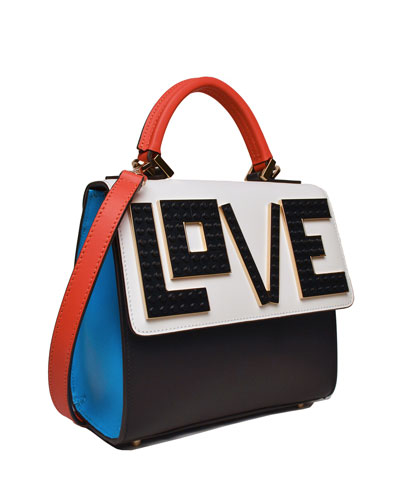 Alex Mini Black Widow Shoulder Bag, Black/White/Blue