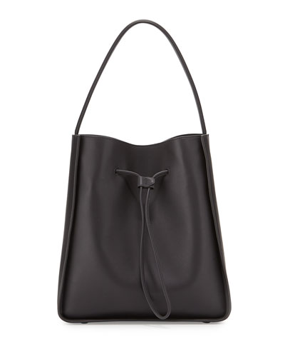 Soleil Large Drawstring Bucket Bag, Charcoal