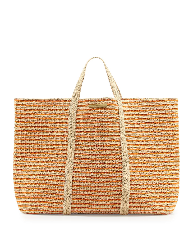 Woven Striped Beach Tote Bag, Orange