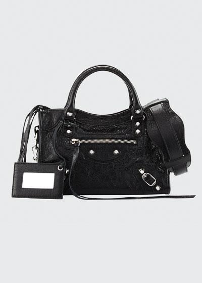 Classic Nickel Mini City AJ Bag, Black