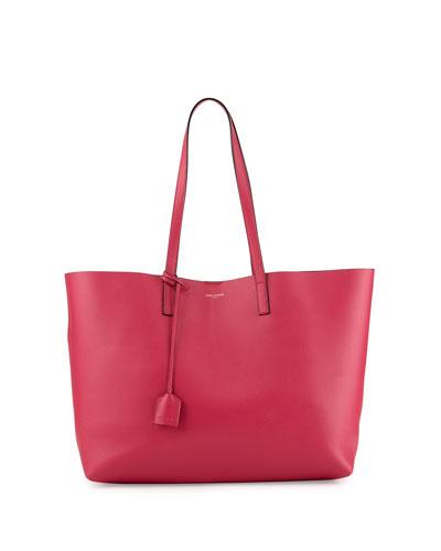 Large Shopping Tote Bag w/ Painted Edges, Fuchsia/Black