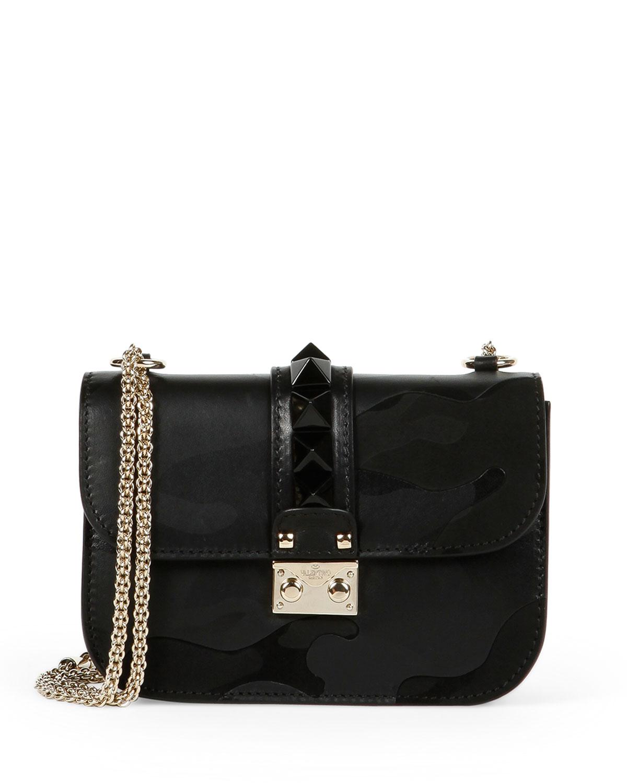 Lock Camo-Embossed Small Shoulder Bag, Black