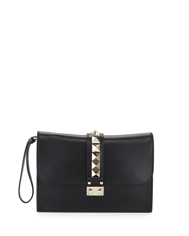 Lock Grained Large Wristlet Clutch Bag, Black