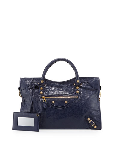 Giant 12 City Lambskin Satchel Bag, Dark Blue