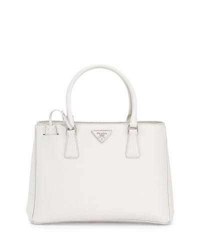 Saffiano Lux Small Gardener's Tote Bag, White (Talco)