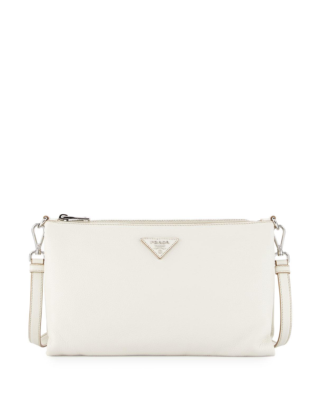Vitello Daino Crossbody Bag, White (Talco)