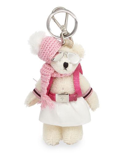 Bear Backpack Charm, White/Pink (Bianco)