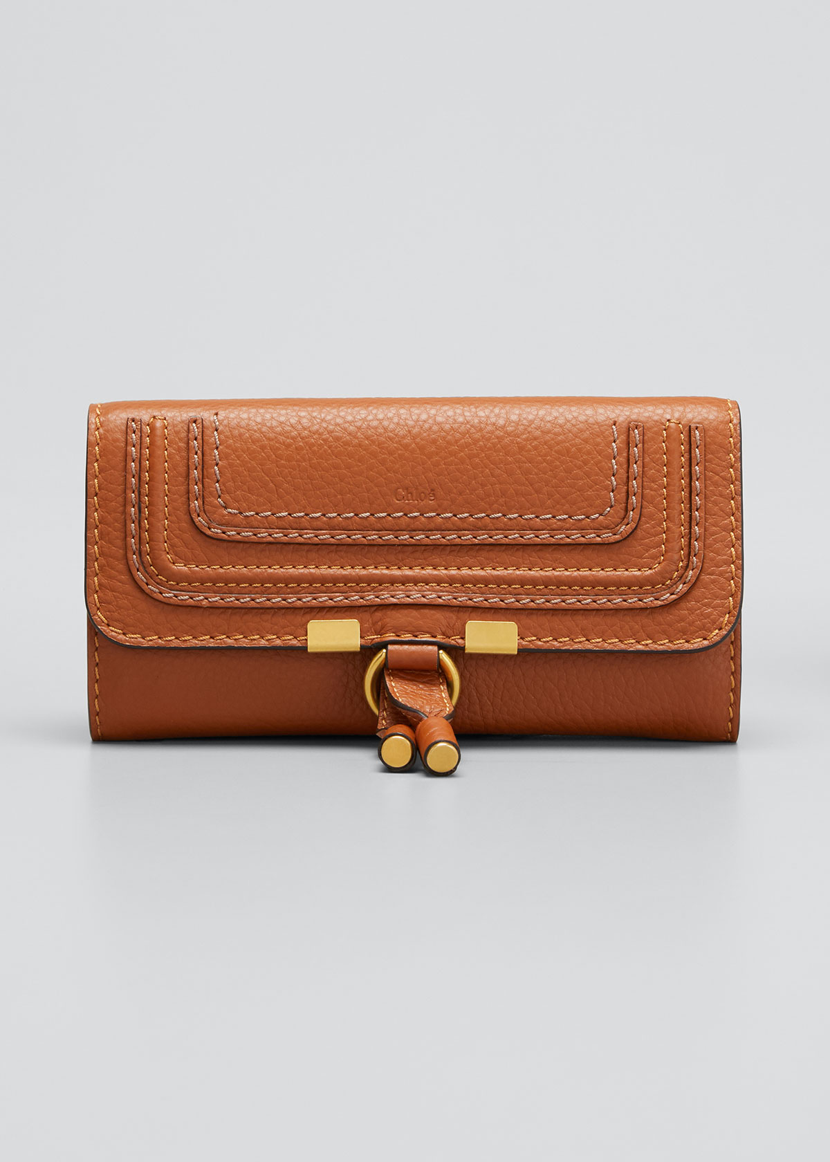 Chloé Wallets MARCIE CONTINENTAL FLAP WALLET, TAN