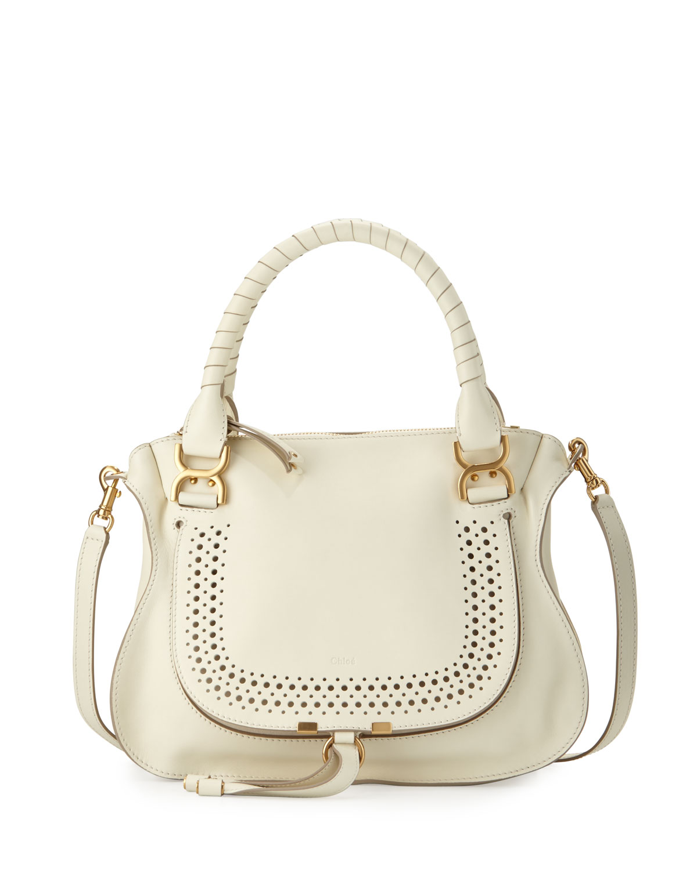 Marcie Medium Perforated Satchel Bag, White