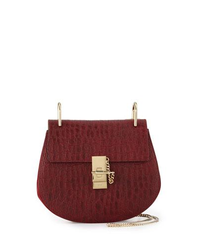 Drew Small Crocodile-Embossed Shoulder Bag, Dark Red