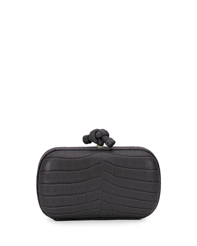 Knot Crocodile Clutch Bag, Black