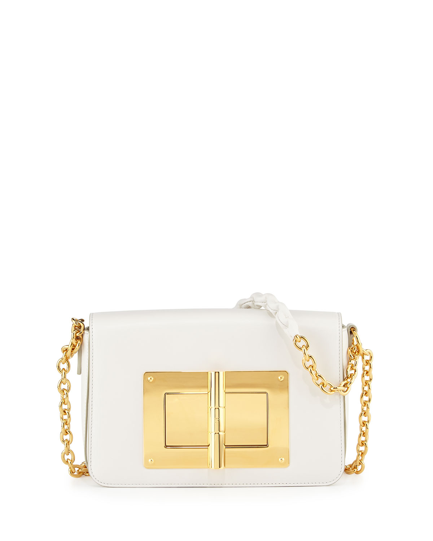 Natalia Medium Chain Crossbody Bag, White