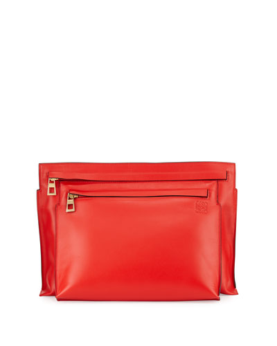 Smooth Calfskin Large Double-Pouch Crossbody Bag, Red