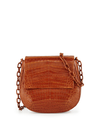 Crocodile Chain-Strap Saddle Bag, Cognac