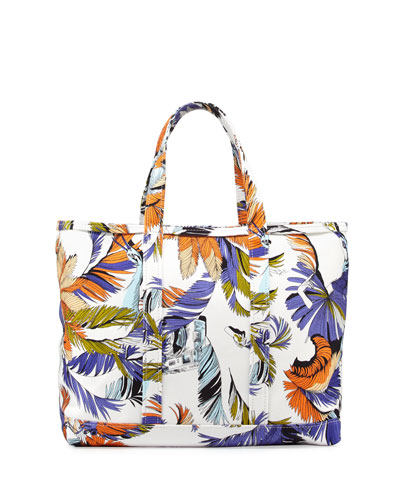 Jungle-Print Canvas Tote Bag, White Print