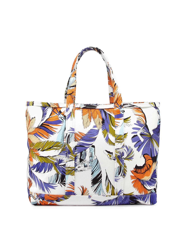 Jungle-Print Canvas Tote Bag, White Print