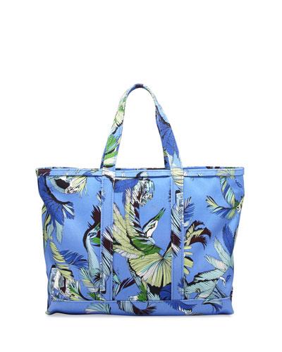 Jungle-Print Canvas Tote Bag, Blue Print