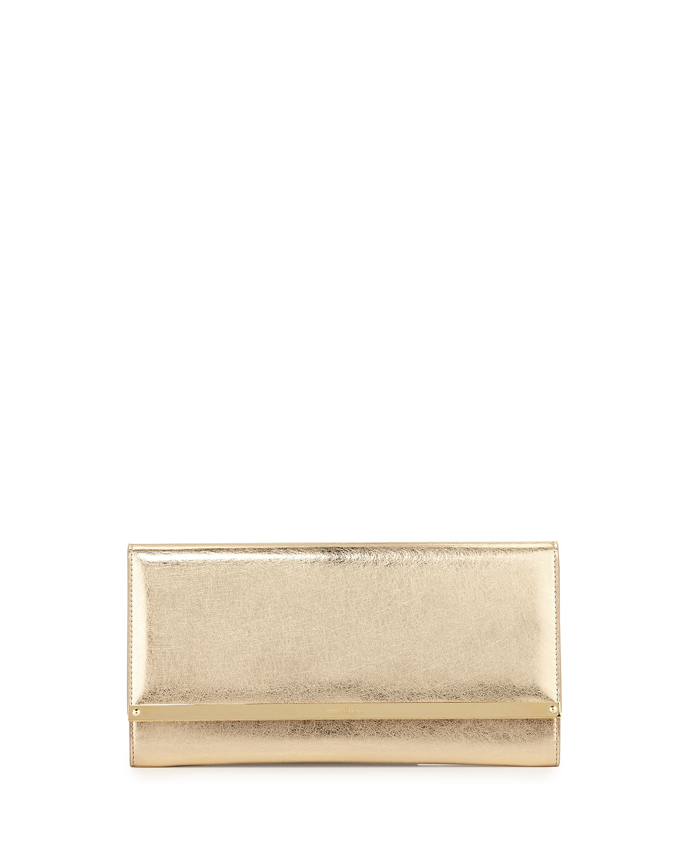 Maia Metallic Leather Clutch Bag, Gold