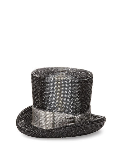 Top Hat Crystal Clutch Bag, Jet Multicolor