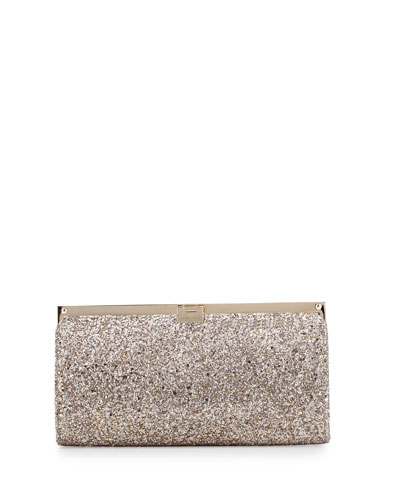 Camille Metallic Frame Clutch Bag, Nude
