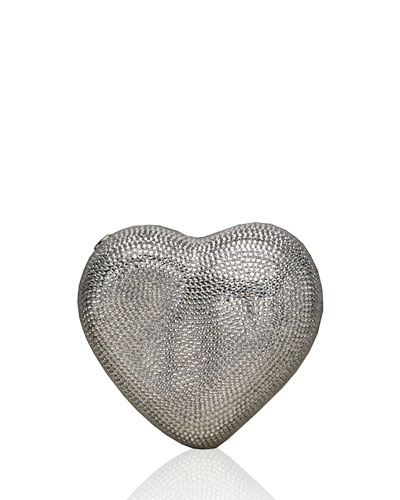 Heart Crystal Clutch Bag, Silver