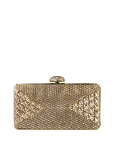 Diamond Crystal Box Clutch Bag, Champagne