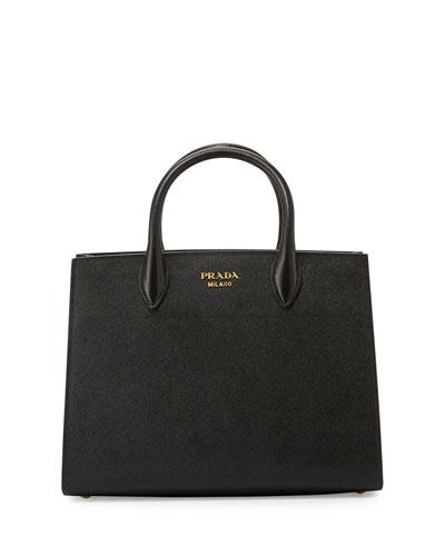 Bibliothèque Medium Saffiano Top-Handle Tote Bag, Black/White (Nero+Bianco)