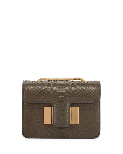 Sienna Mini Python Crossbody Bag, Dark Green
