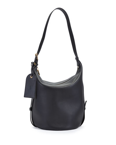 Grace Leather Belt Bucket Bag, Black