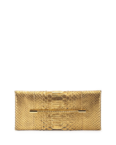Metallic Python Evening Clutch Bag, Gold