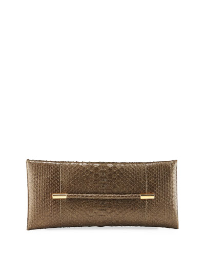 Evening Python Clutch Bag, Dark Green