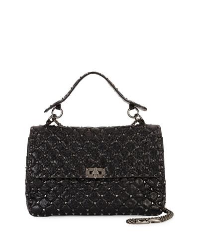 Rockstud Spike Large Chain Bag, Black