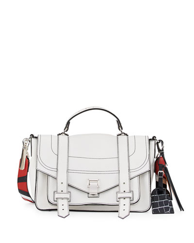 PS1 Medium Patchwork-Strap Satchel Bag, White