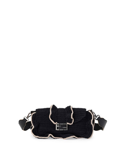 Baguette Waves Shoulder Bag, Black/White