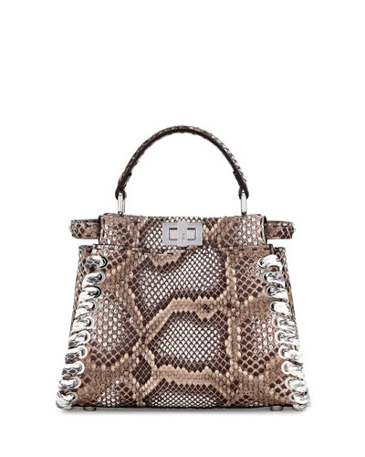 Peekaboo Small Whipstitch Satchel Bag, Multi
