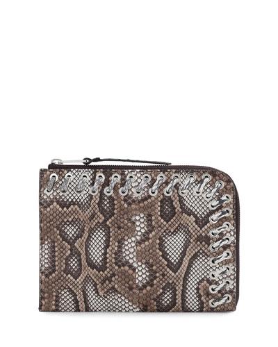 Flat Python Whipstitch Clutch Bag, Brown