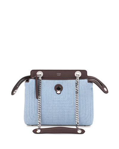 Dot Com Mini Denim Satchel Bag, Blue