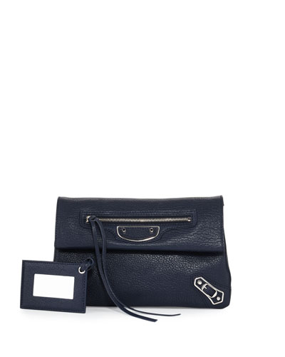 Metallic Edge Mini Clutch Bag, Blue