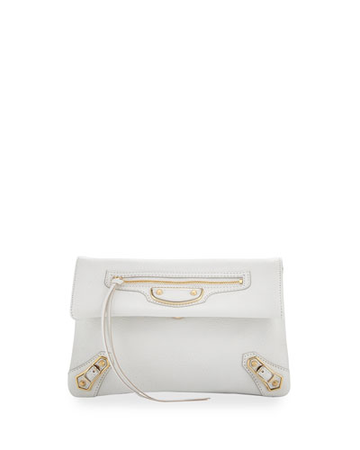 Metallic Edge Mini Clutch Bag, White