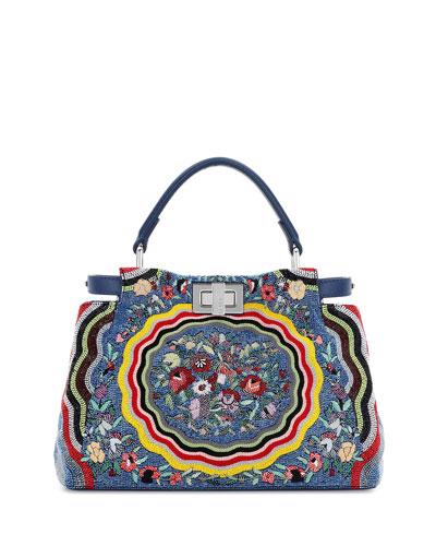 Peekaboo Mini Micro Circle Embroidered Silk Satchel Bag, Blue/Yellow