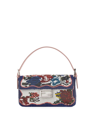 Baguette Needlepoint Leather Shoulder Bag, Blue/Multi