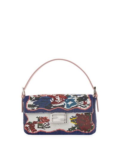 Baguette Needlepoint Leather Shoulder Bag, Blue/Multi