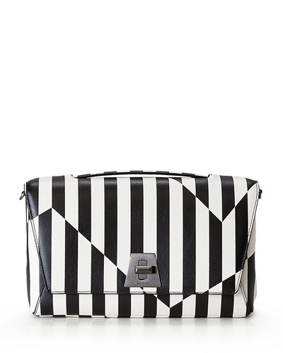 Anouk Striped Leather Day Bag, Black/White