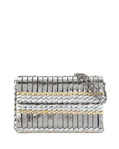 Bamboo Woven Crocodile Shoulder Bag, Blush/Black/Taupe